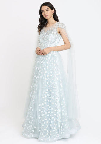 Sea Green Sequins Net Designer Gown-Koskii