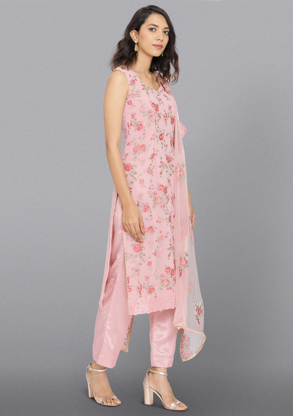 Pink Threadwork Georgette Designer Salwar Suit