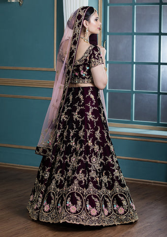 Wine Red Thread Work Velvet Designer Lehenga-Koskii