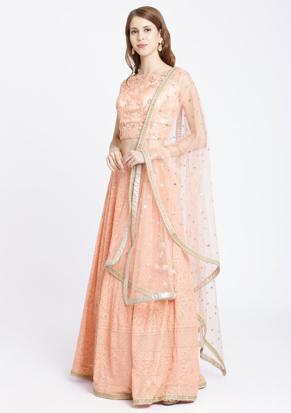 Peach Threadwork Chiffon Designer Lehenga