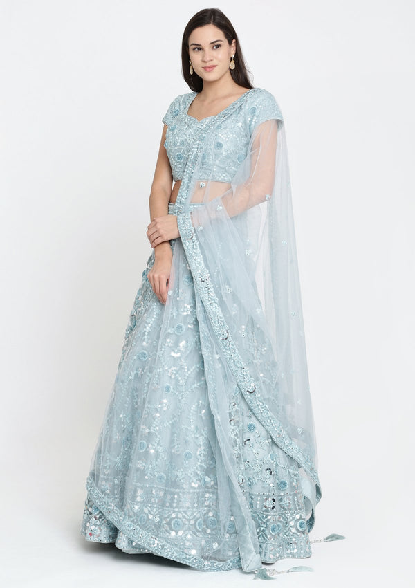 Sea Green Mirror Work Net Designer Lehenga