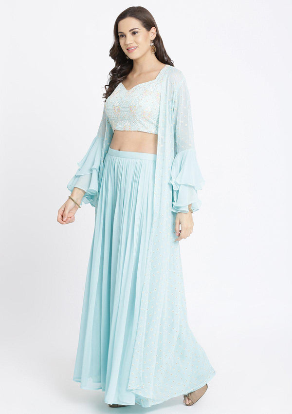 Sky Blue Threadwork Georgette Designer Crop Top Set