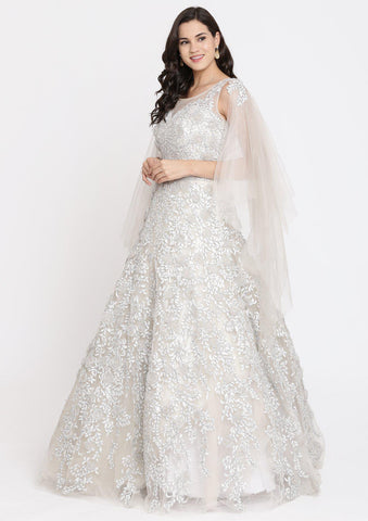 Grey Sequins Net Designer Gown