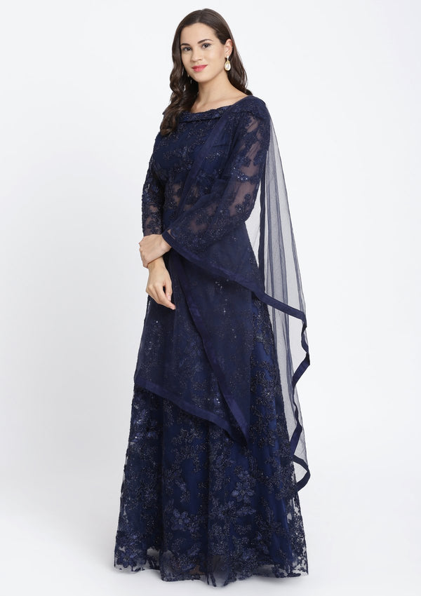 Navy Blue Sequinned Net Designer Gown