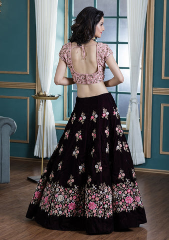 Wine Red Threadwork Velvet Designer Lehenga-Koskii