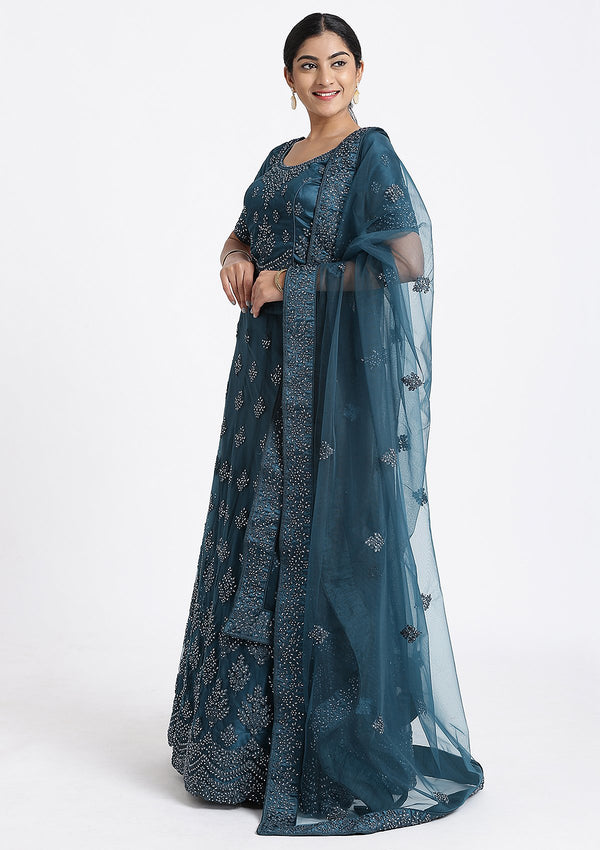 Peacock Blue Thread Work Net Designer Lehenga