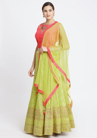 Parrot Green and Candy Pink Stonework Art Silk Designer Lehenga-Koskii