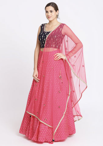 Fuschia and Navy Blue Zardozi Chanderi Designer Lehenga-Koskii