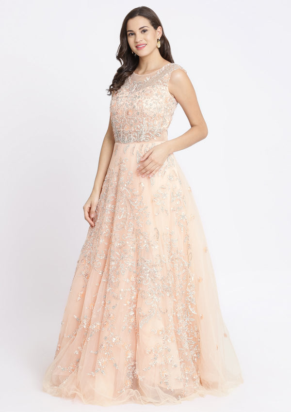 Peach Sequinned Net Designer Gown-Koskii