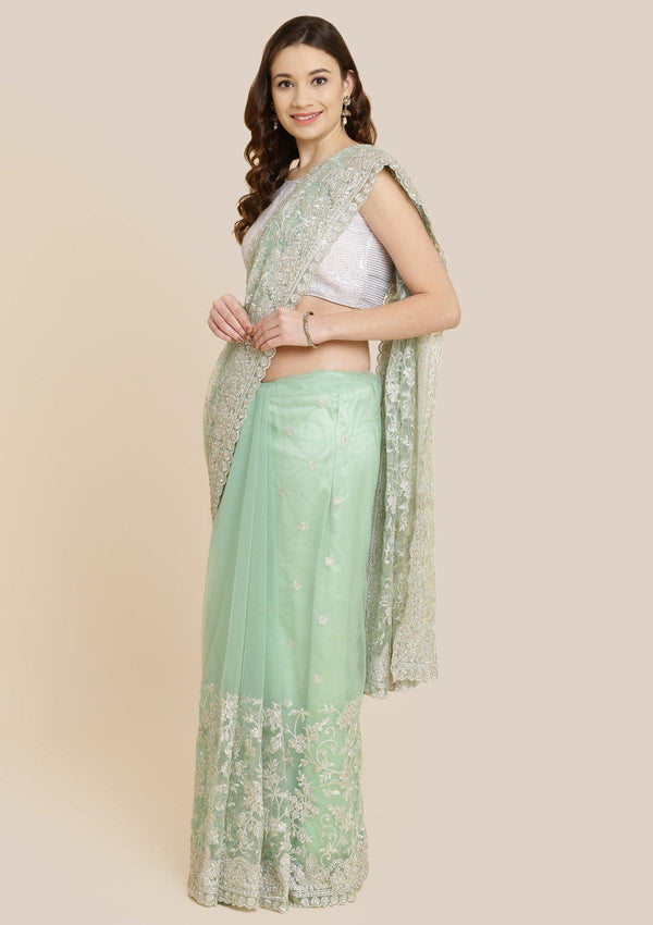 Sea Green Zariwork Net Designer Saree