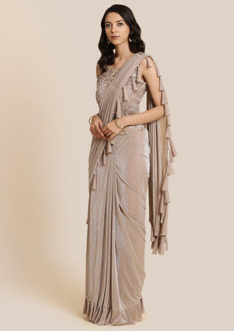Light Brown Cutdana Lycra Designer Saree