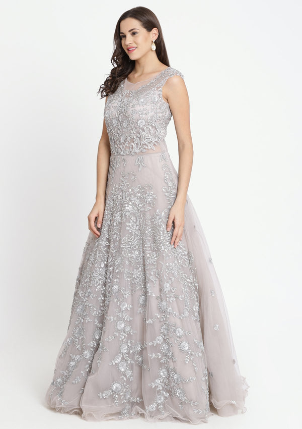 Grey Sequinned Net Designer Gown-Koskii