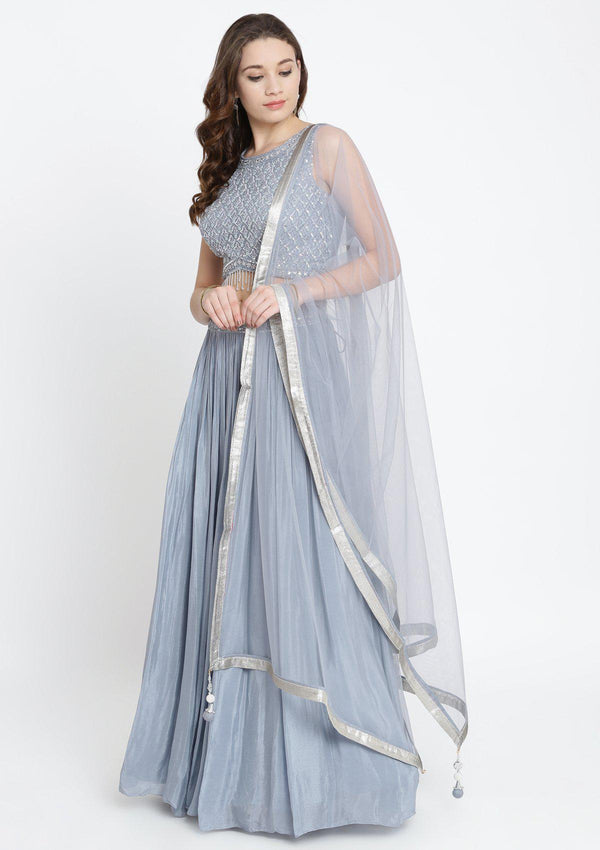 Light Grey Sequinned Satin Designer Lehenga-Koskii