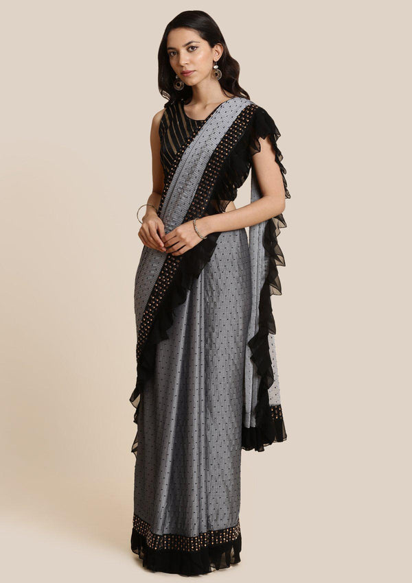 Light Grey Swarovski Georgette Designer Saree