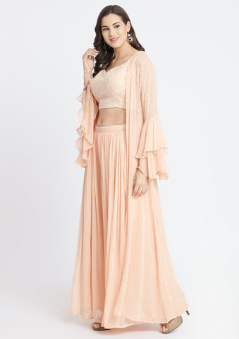 Peach Threadwork Georgette Designer Crop Top Set