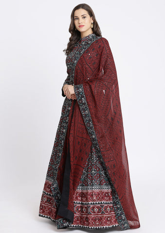 Black Gotapatti Art Silk Designer Gown