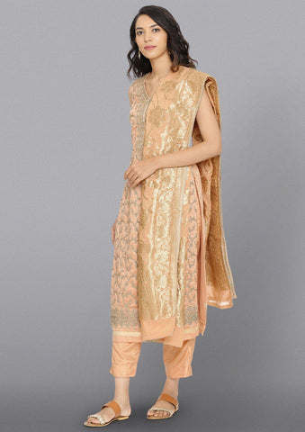 Peach Zariwork Cotton Designer Salwar Suit
