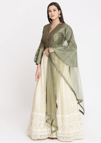 Cream and Green Chikankari Net Designer Lehenga-Koskii