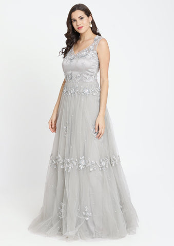 Light Grey Sequinned Net Designer Gown-Koskii