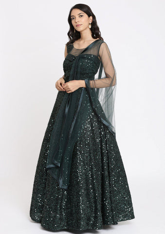 Bottle Green Sequins Imported Fabric Designer Gown-Koskii