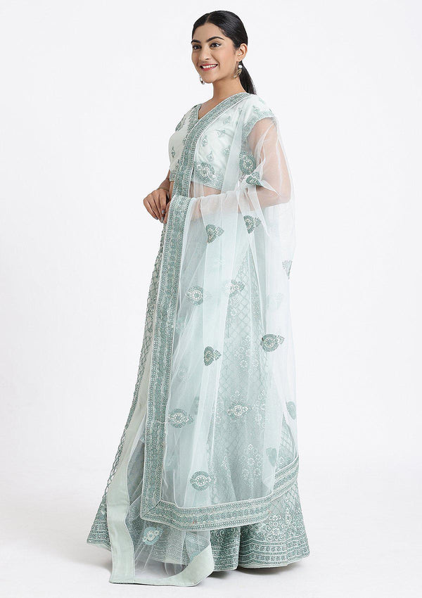 Sea Green Stone Work Net Designer Lehenga