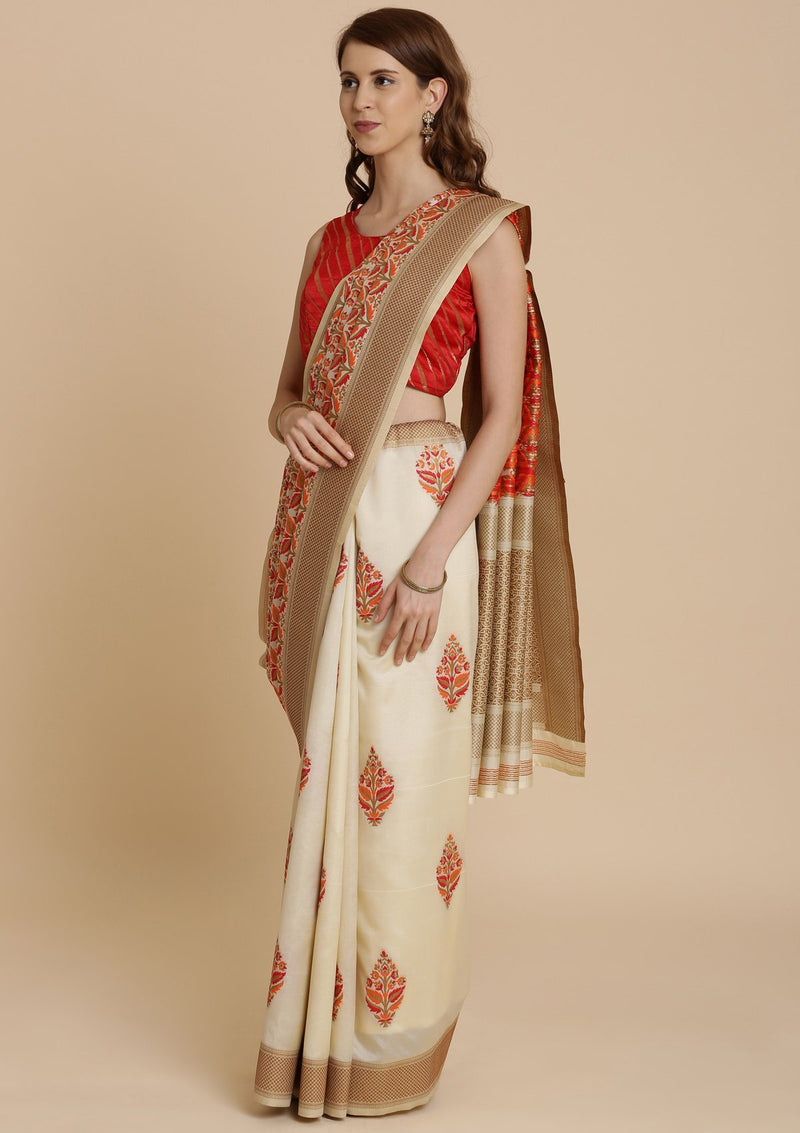 Red and Cream Thread Work Art Silk Designer Saree-Koskii