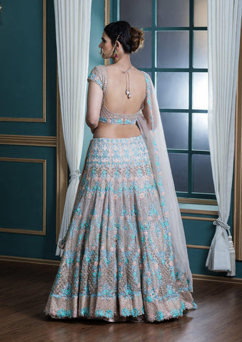 Beige Threadwork Net Designer Lehenga