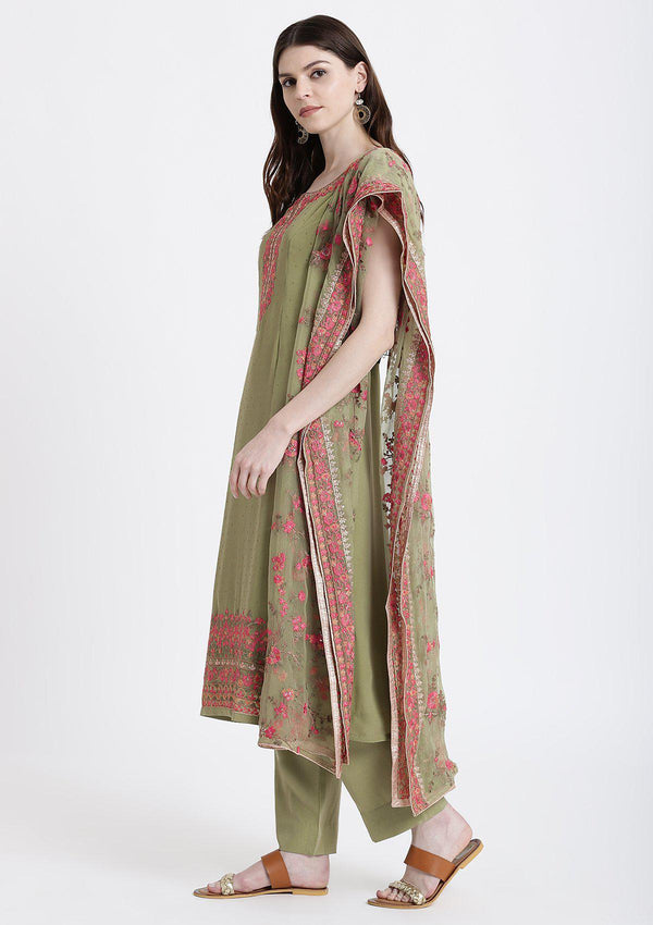Pista Green Threadwork Georgette Designer Salwar Suit-Koskii