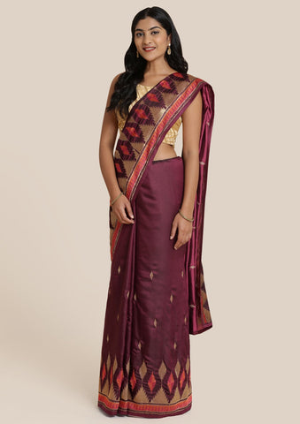 Wine Zariwork Satin Designer Saree