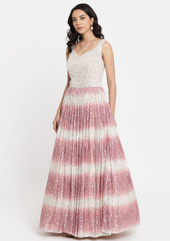 Onion Pink Sequins Net Designer Gown