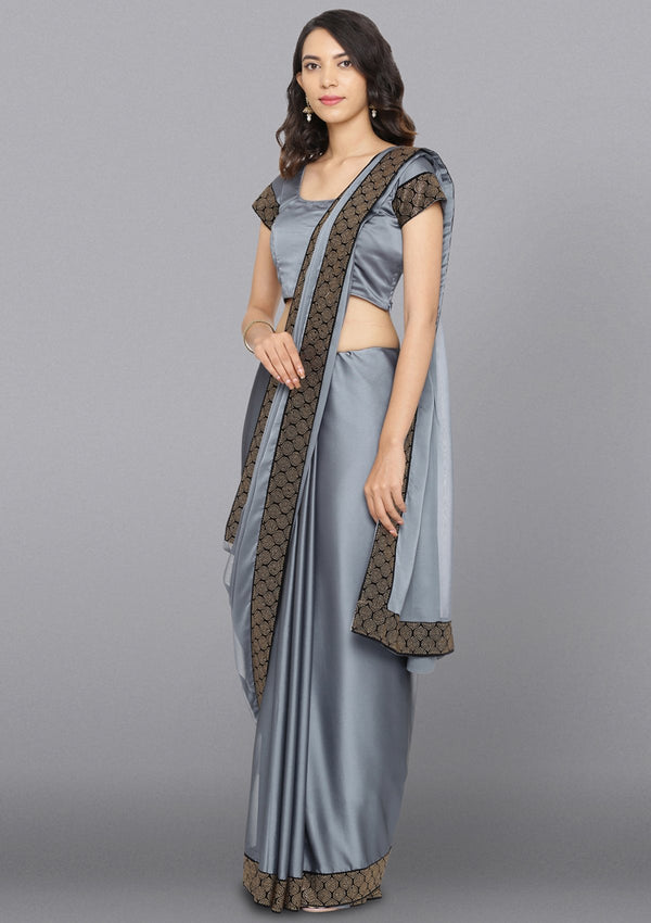 Light Grey Swarovski Semi Crepe Designer Saree
