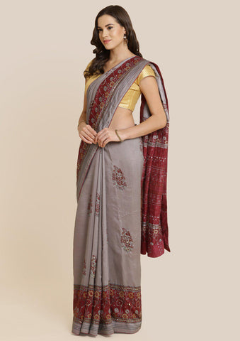 Smokey Grey Cutdana Art Silk Designer Saree