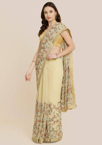 Gold Threadwork Georgette Designer Saree-Koskii
