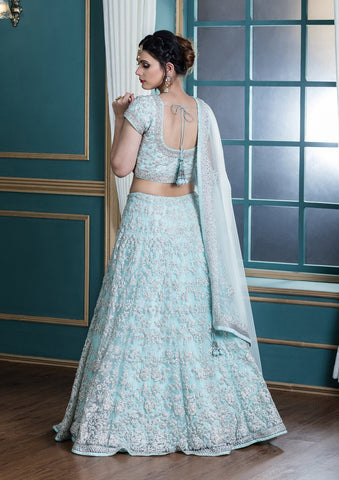 Powder Blue Sequinned Net Designer Lehenga