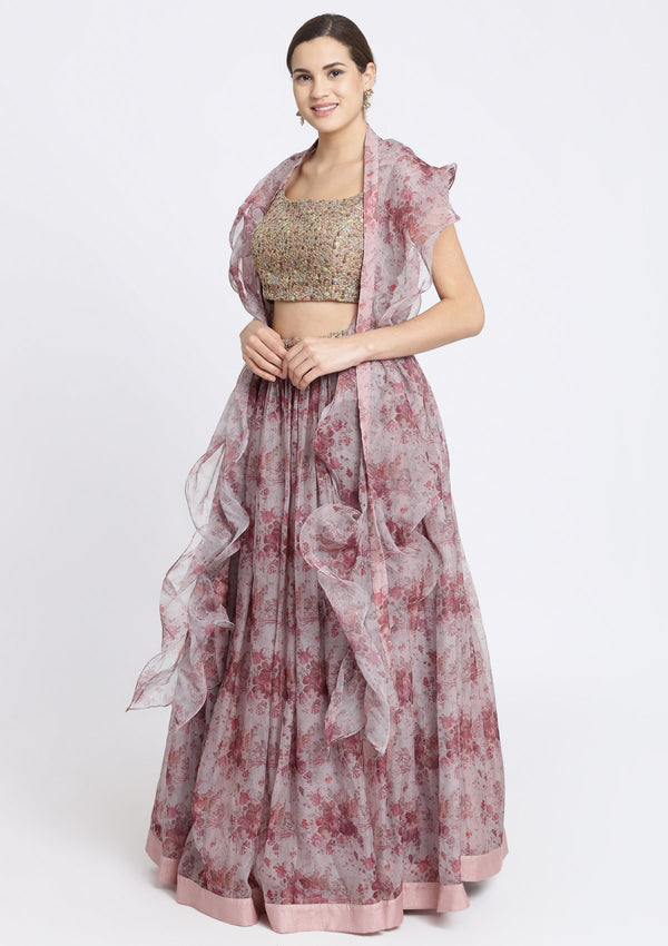 Lavender and Brown Sequins Tissue Designer Lehenga