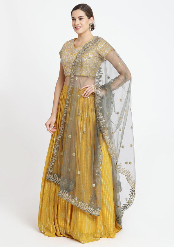 Yellow Sequins Georgette Designer Lehenga