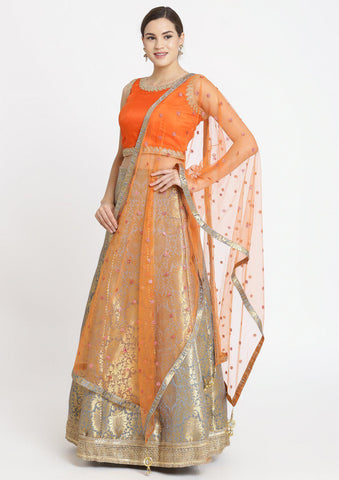 Light Grey Zariwork Brocade Designer Lehenga-Koskii