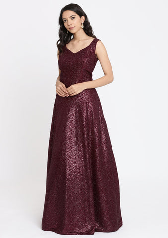 Maroon Sequins Imported Fabric Designer Gown
