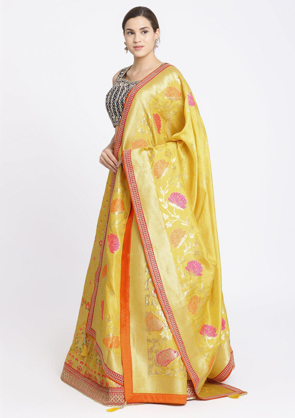 Navy Blue and Yellow Gotapatti Brocade Designer Lehenga