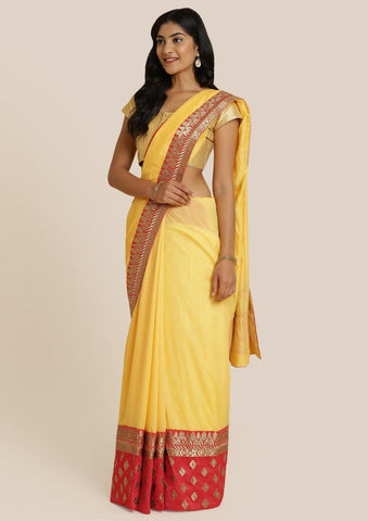 Yellow Zariwork Art Silk Designer Saree-Koskii