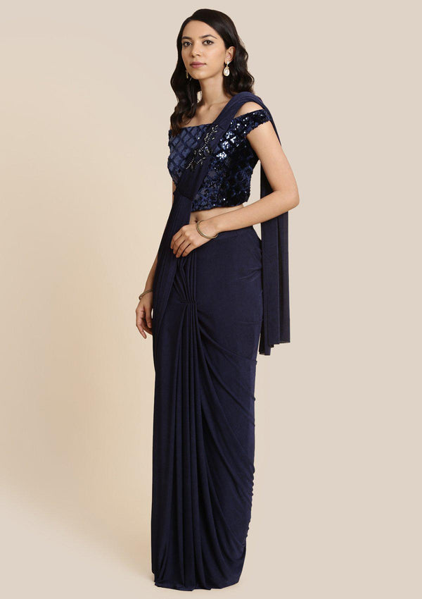 Navy Blue Sequins Lycra Designer Saree-Koskii