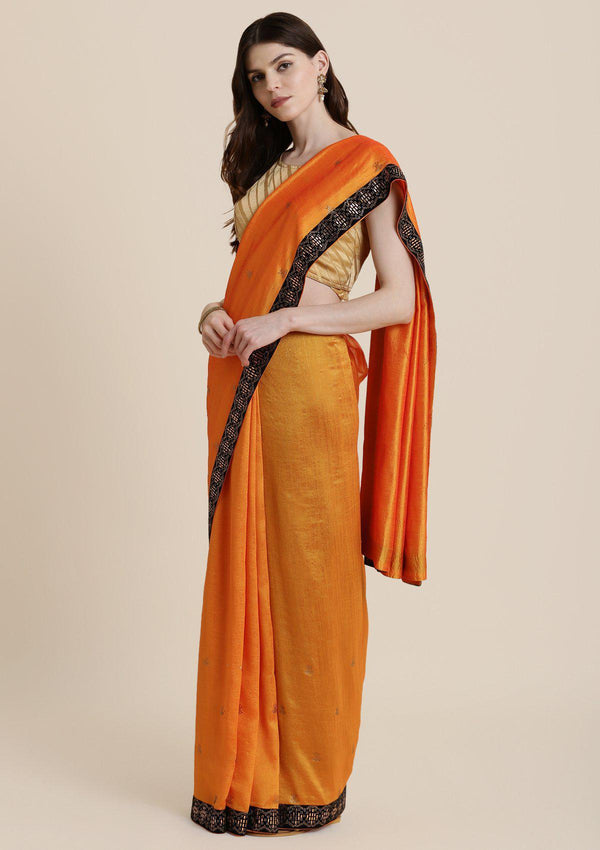 Orange Swarovski Rawsilk Designer Saree-Koskii