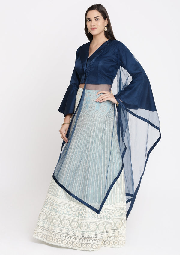 Sea Green and Navy Blue Chikankari Net Designer Lehenga