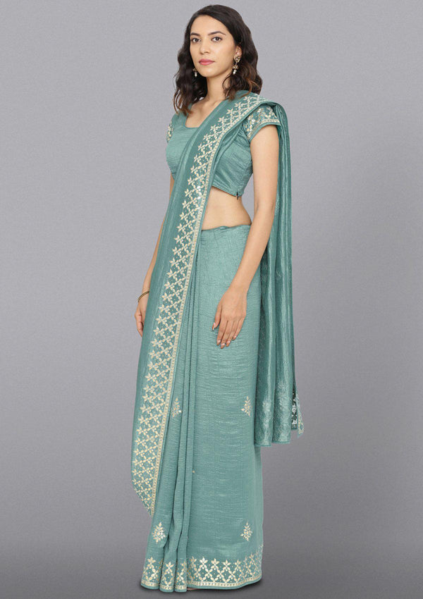 Sea Green Gotapatti Art Silk Designer Saree-Koskii