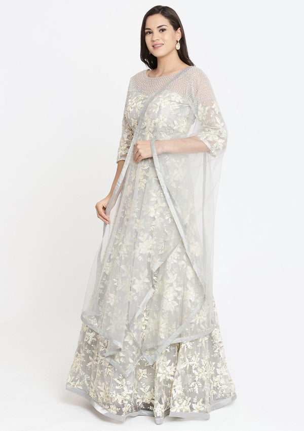 Light Grey Pearlwork Net Designer Lehenga-Koskii