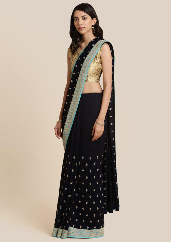 Navy Blue Zariwork Art Silk Designer Saree