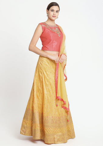Orange and Candy Pink Stonework Art Silk Designer Lehenga