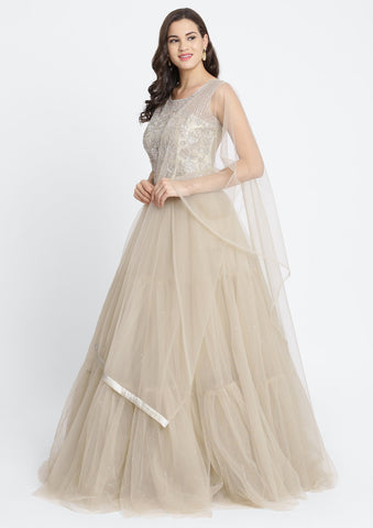 Light Brown Silver Stonework Net Designer Gown