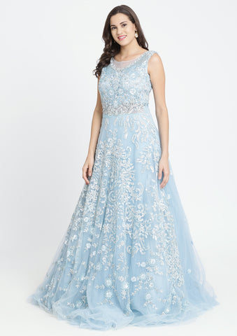 Sky Blue Sequinned Net Designer Gown
