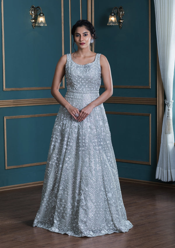 Grey Stone Work Tissue Designer Gown